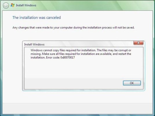 При установке Windows 7 ошибка 0x80070017